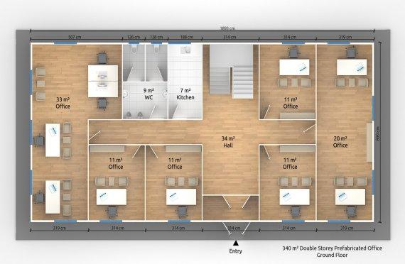 Մոդուլային Գրասենյակային Շենք 340 մ²