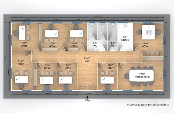 Մոդուլային Գրասենյակային Շինություն 146 մ²