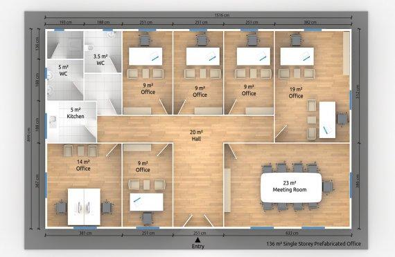 Մոդուլային Գրասենյակային Շինություն 136 մ²