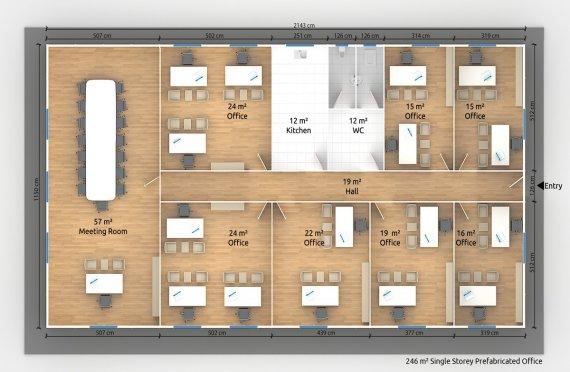 Մոդուլային Գրասենյակային Շինություն 246 մ²